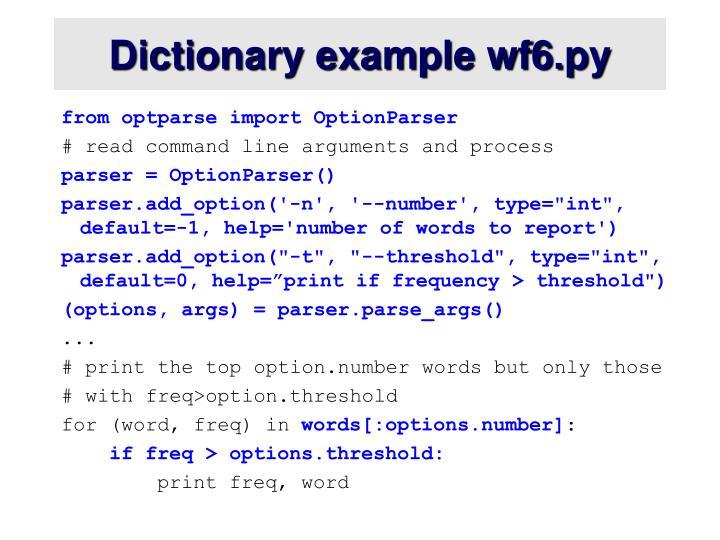 Dictionary example wf6.py