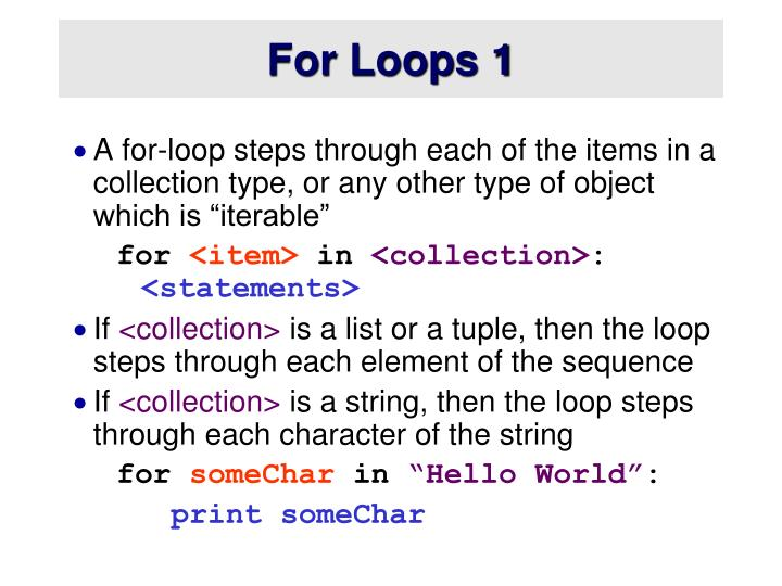 For Loops 1
