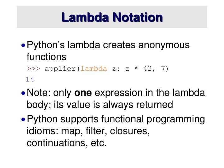 Lambda Notation