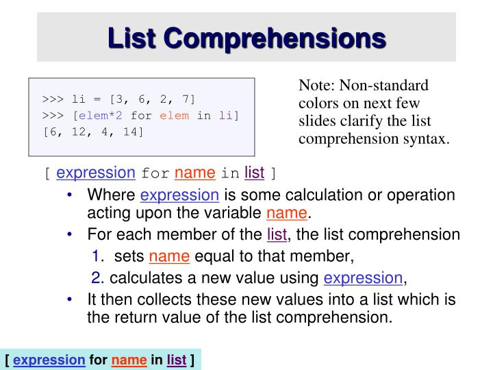 List Comprehensions