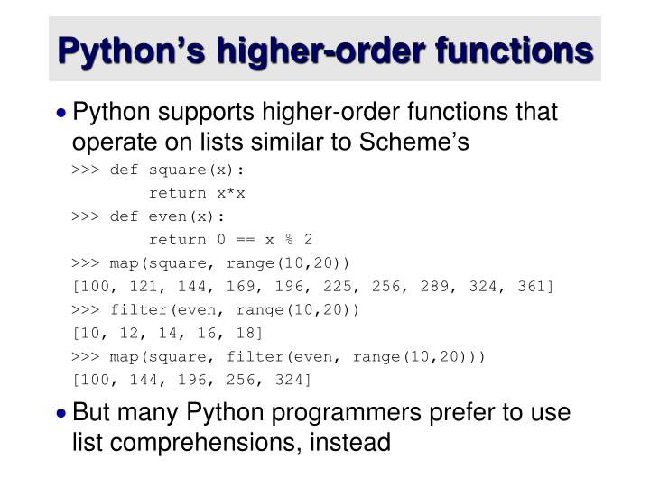 Python's higher-order functions