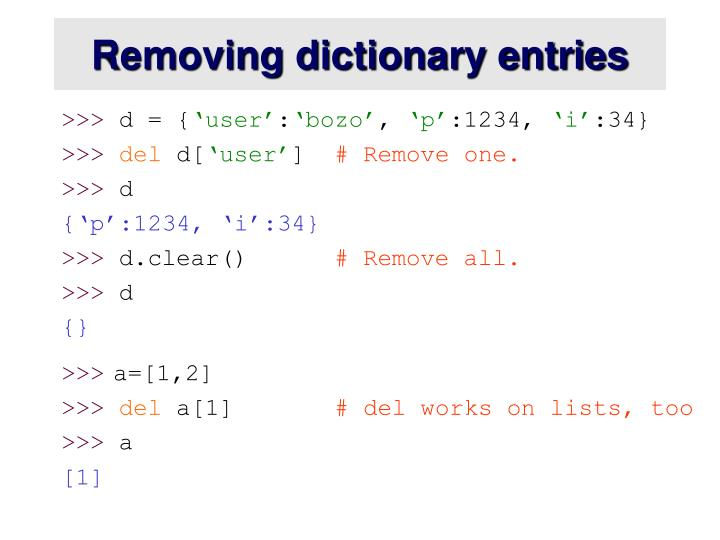 Removing dictionary entries