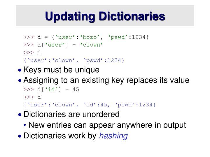 Updating Dictionaries