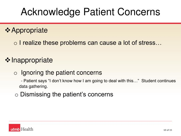 Acknowledge Patient Concerns