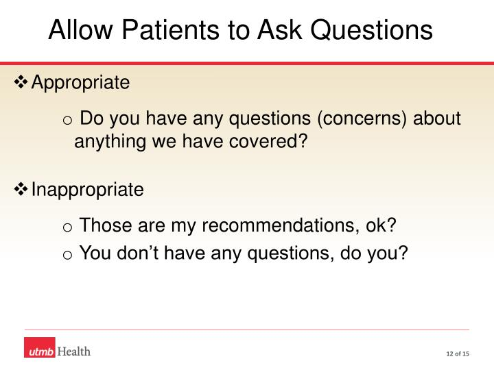 Allow Patients to Ask Questions