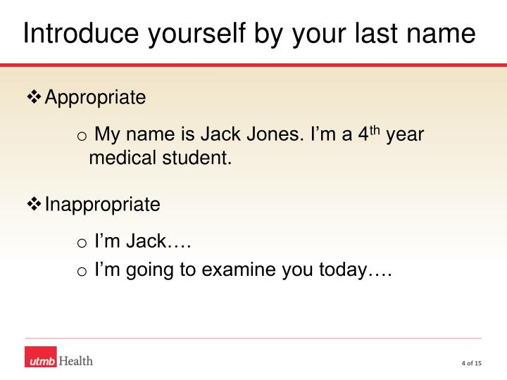Introduce yourself by your last name