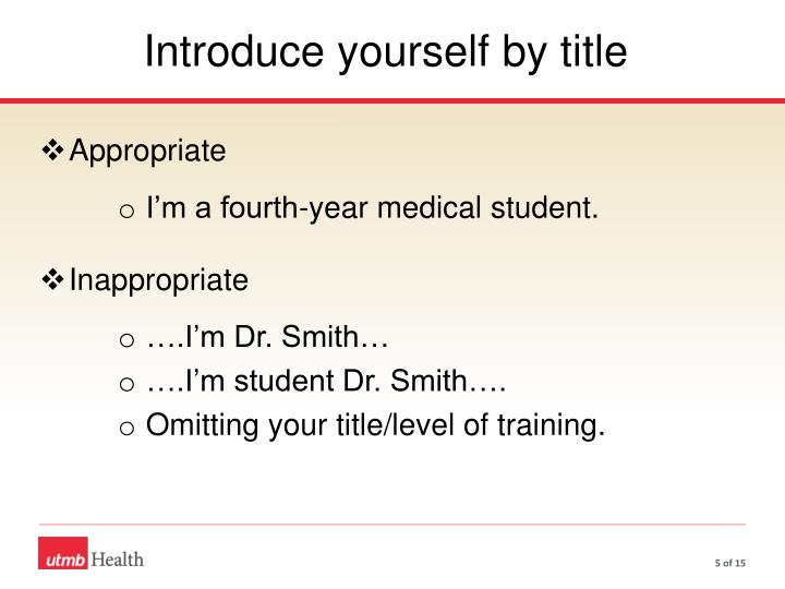 Introduce yourself by title