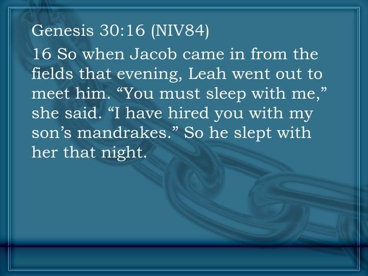 Genesis 30:16 (NIV84)