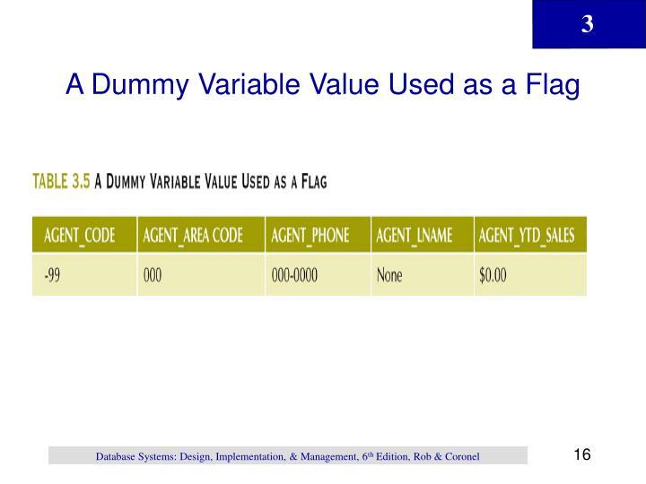 A Dummy Variable Value Used as a Flag