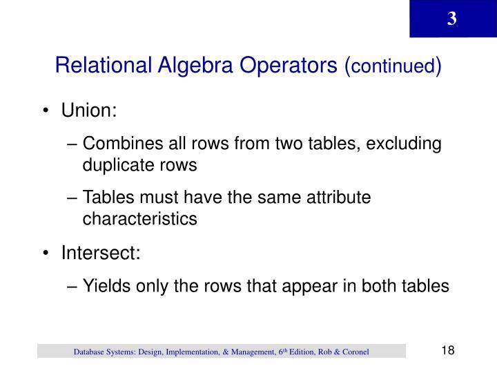 Relational Algebra Operators (