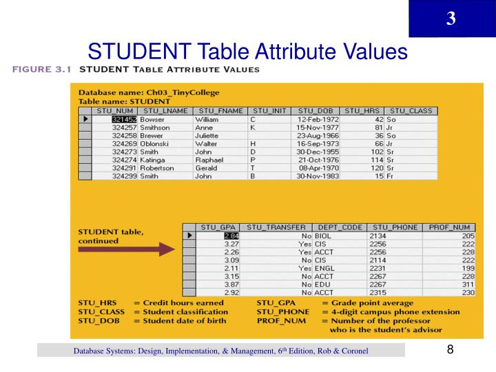 STUDENT Table Attribute Values