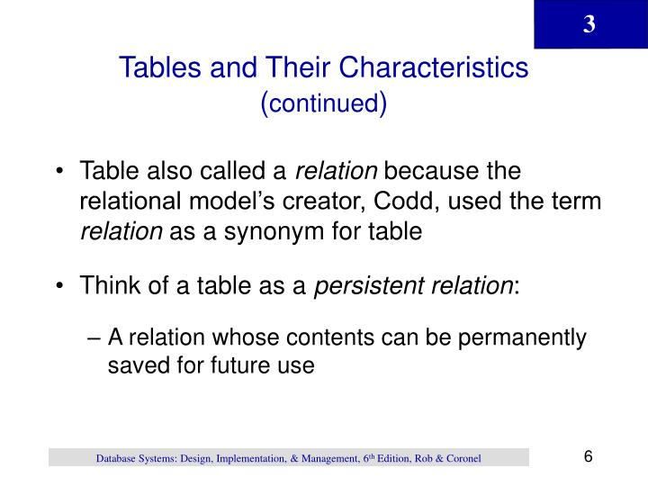 Tables and Their Characteristics (