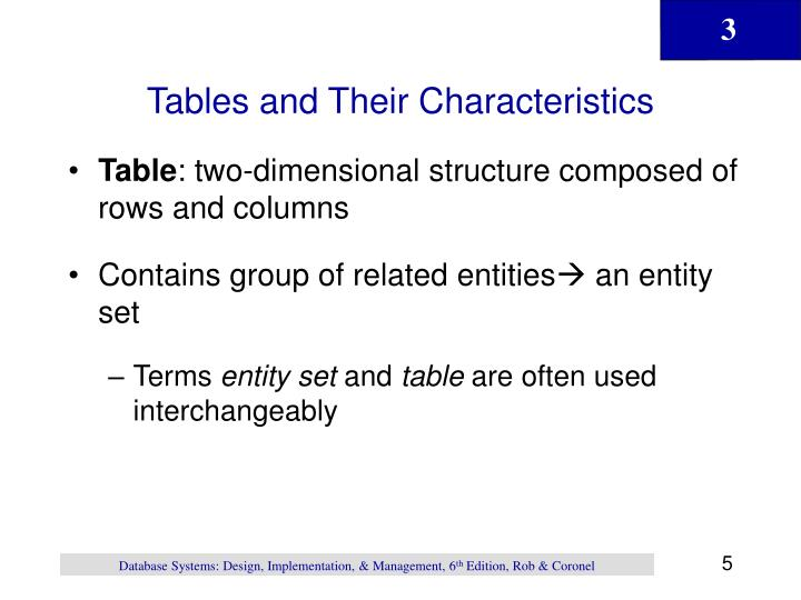 Tables and Their Characteristics