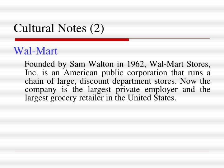 Cultural Notes (2)