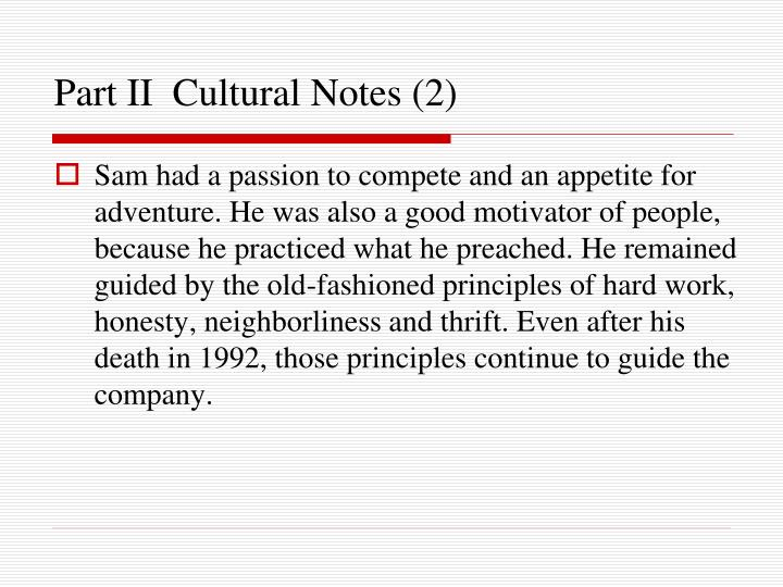 Part II  Cultural Notes (2)