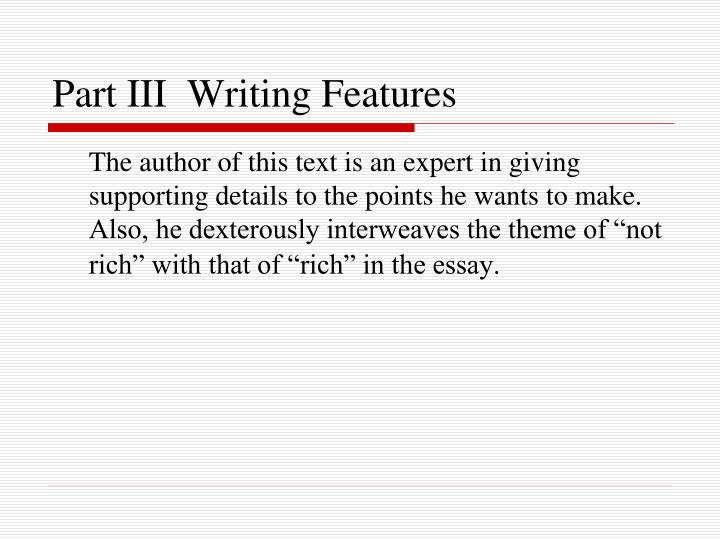 Part III  Writing Features
