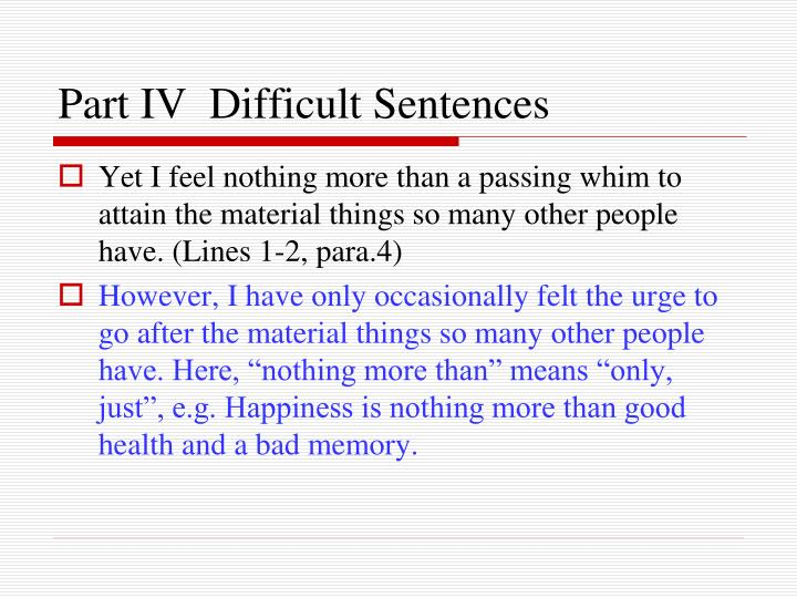 Part IV  Difficult Sentences