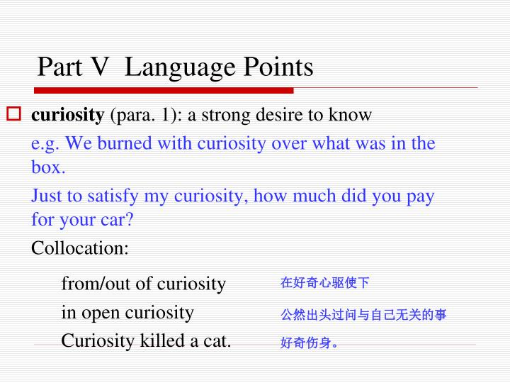 Part V  Language Points