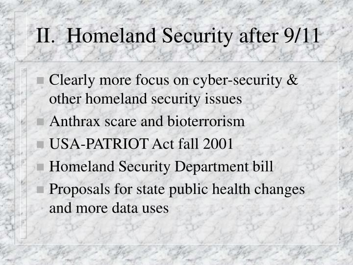 II.  Homeland Security after 9/11