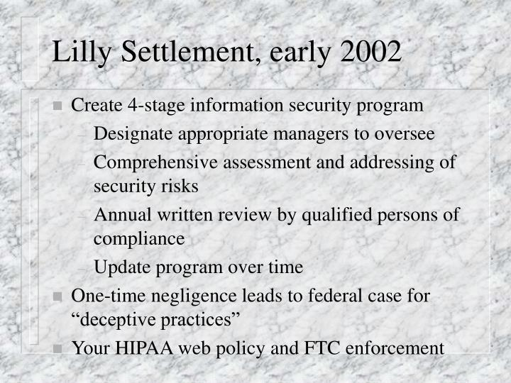 Lilly Settlement, early 2002