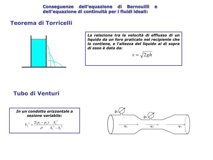 Conseguenze dell'equazione di Bernouilli e dell'equazione di continuità per i fluidi ideali: