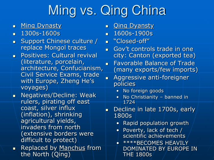 Ming vs qing china