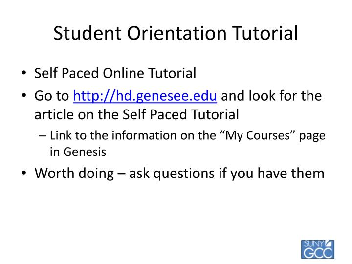 Student Orientation Tutorial