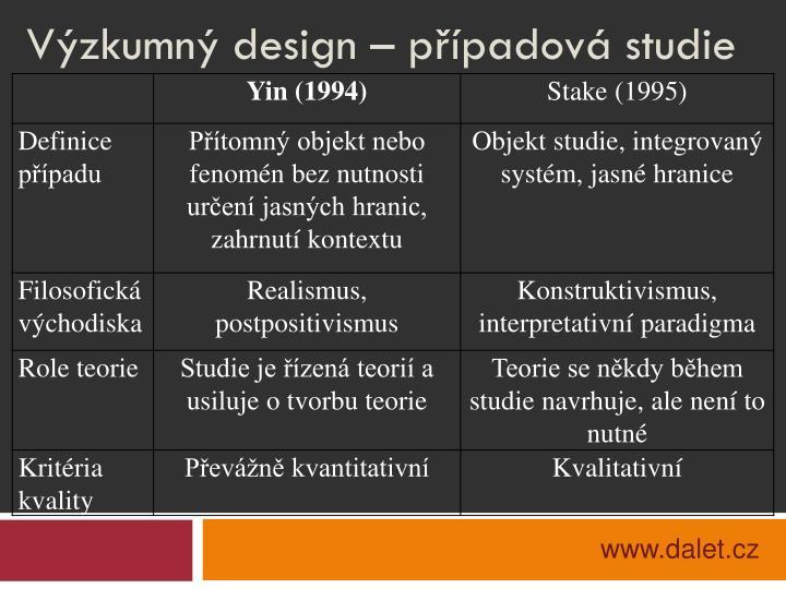 Výzkumný design – případová studie