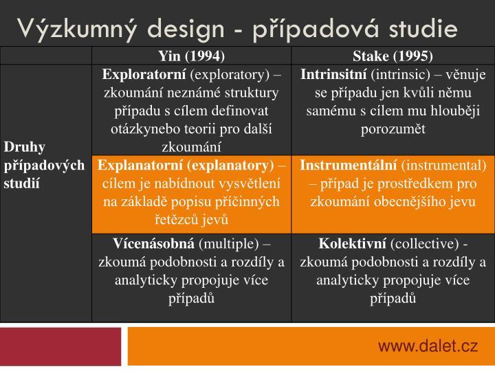 Výzkumný design - případová studie