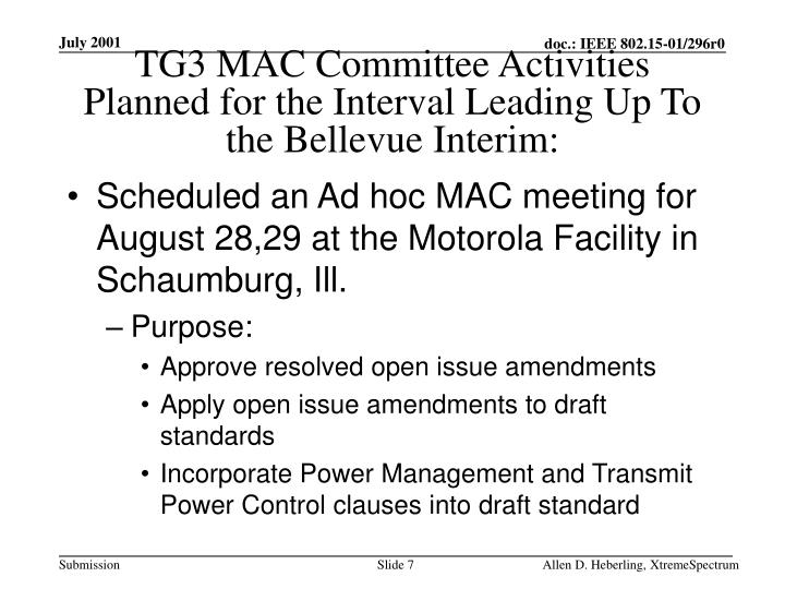 TG3 MAC Committee Activities Planned for the Interval Leading Up To the Bellevue Interim:
