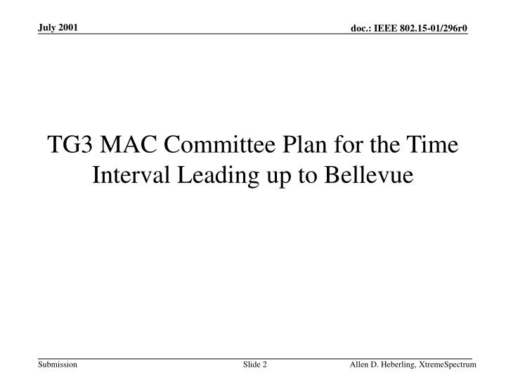 Tg3 mac committee plan for the time interval leading up to bellevue