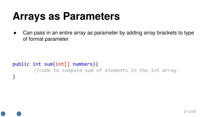 Arrays as Parameters