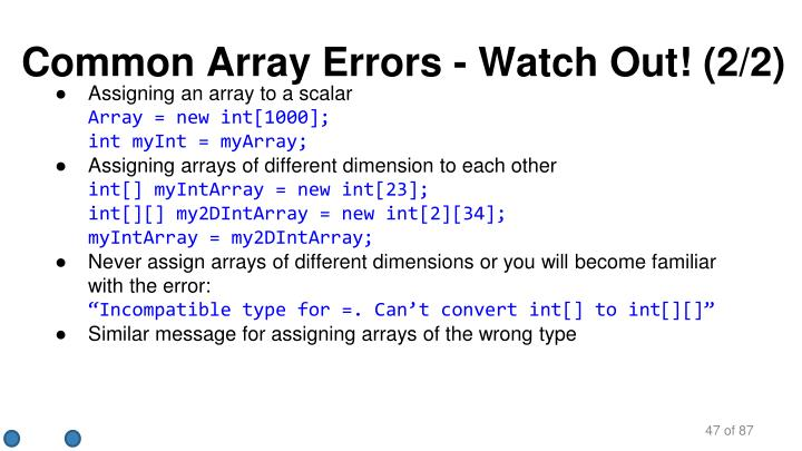 Common Array Errors - Watch Out