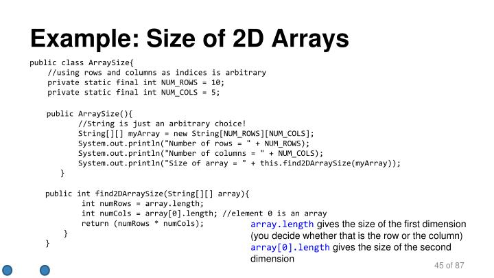 Example: Size of 2D Arrays