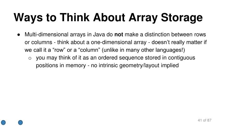 Ways to Think About Array Storage
