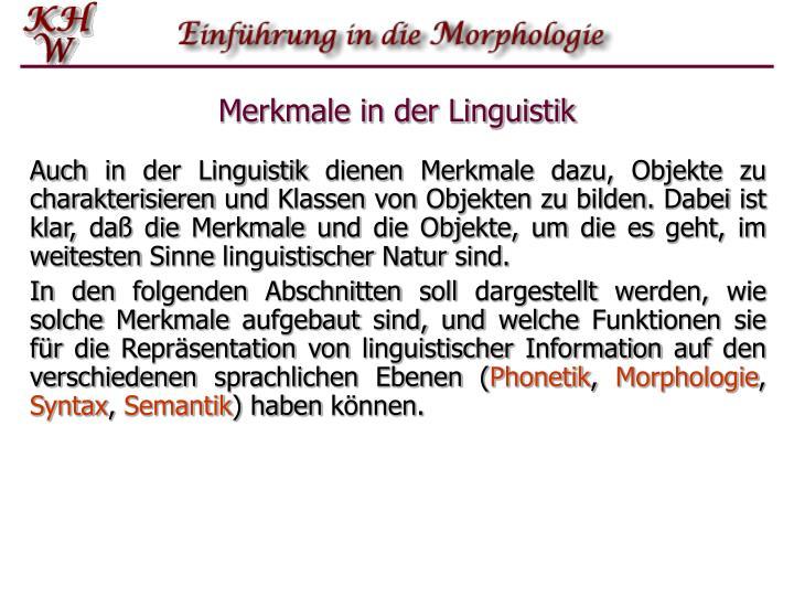 Merkmale in der Linguistik