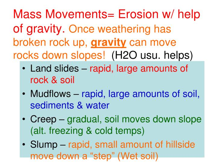 Mass Movements= Erosion w/ help of gravity.