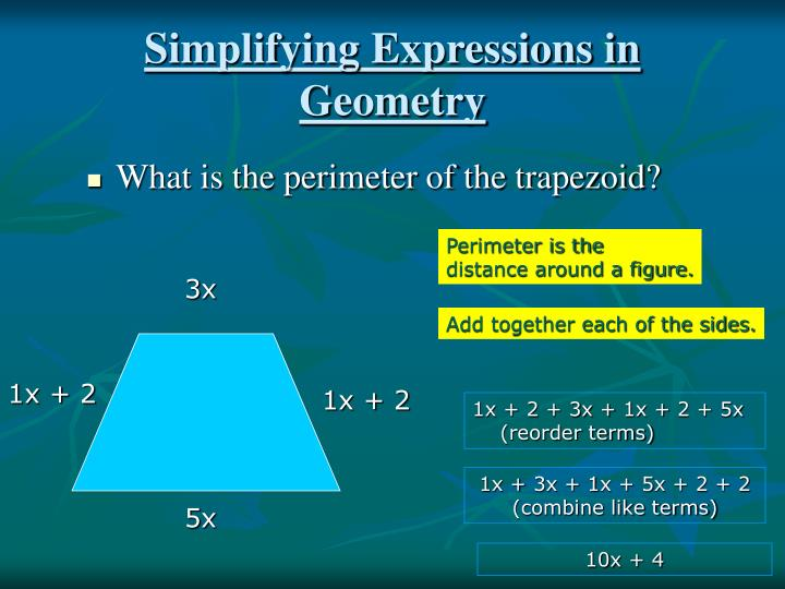Simplifying expressions in geometry