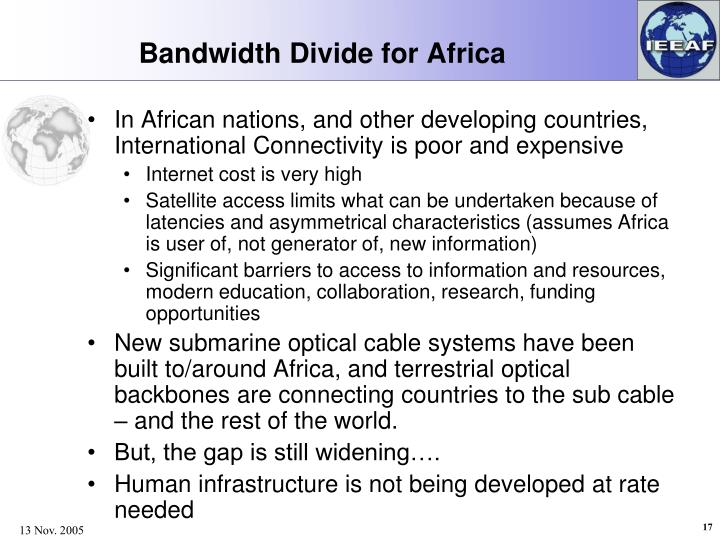 Bandwidth Divide for Africa