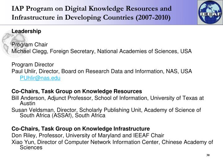 IAP Program on Digital Knowledge Resources and Infrastructure in Developing Countries (2007-2010)