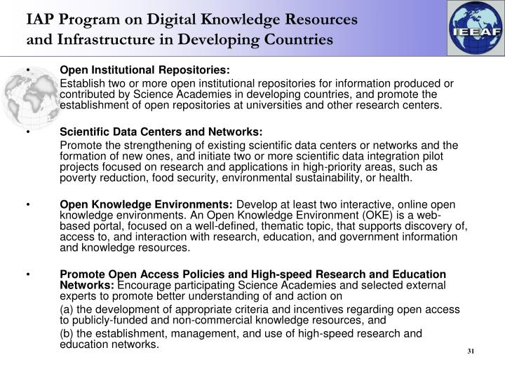 IAP Program on Digital Knowledge Resources and Infrastructure in Developing Countries