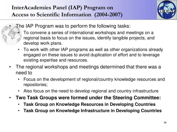 InterAcademies Panel (IAP) Program on Access to Scientific Information  (2004-2007)