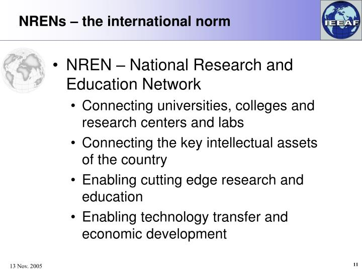 NRENs – the international norm