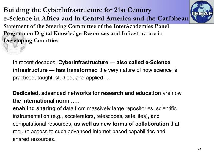 Building the CyberInfrastructure for 21st Century