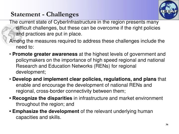 Statement - Challenges