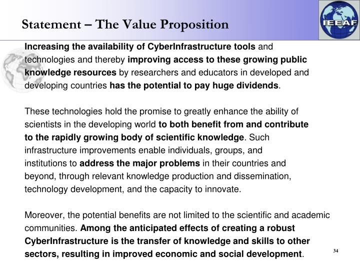 Statement – The Value Proposition