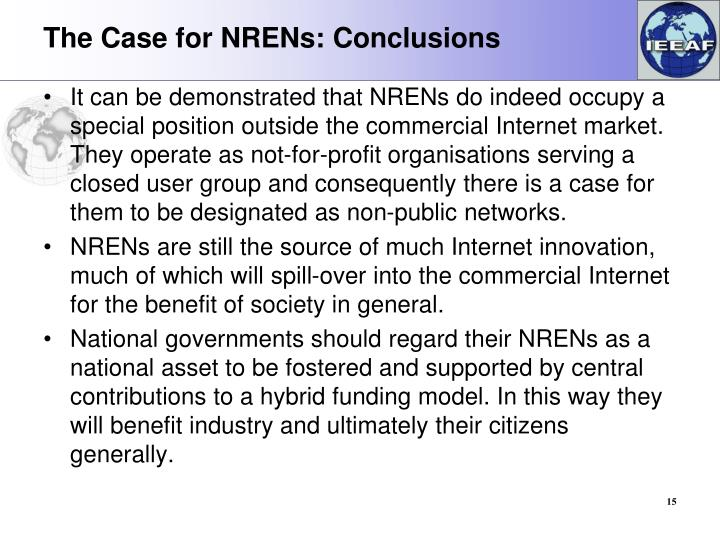The Case for NRENs: Conclusions