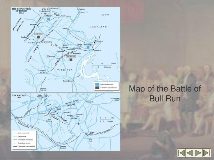 Map of the Battle of Bull Run
