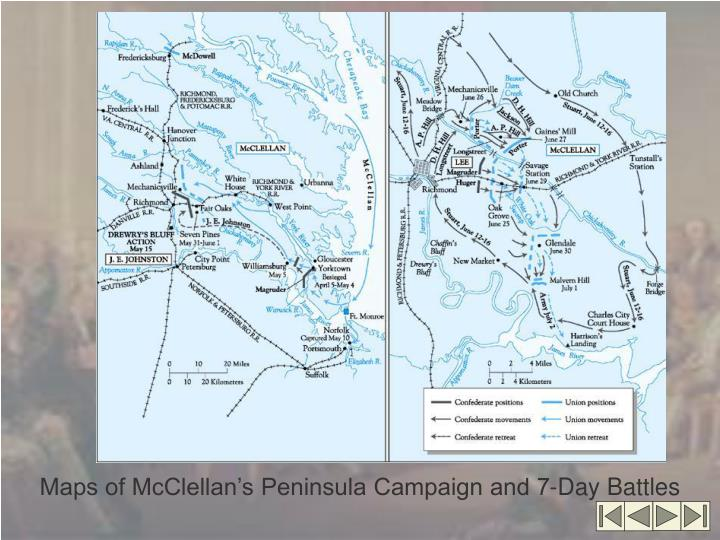 Maps of McClellan's Peninsula Campaign and 7-Day Battles