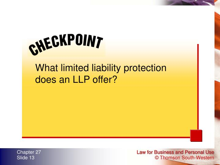 What limited liability protection does an LLP offer?